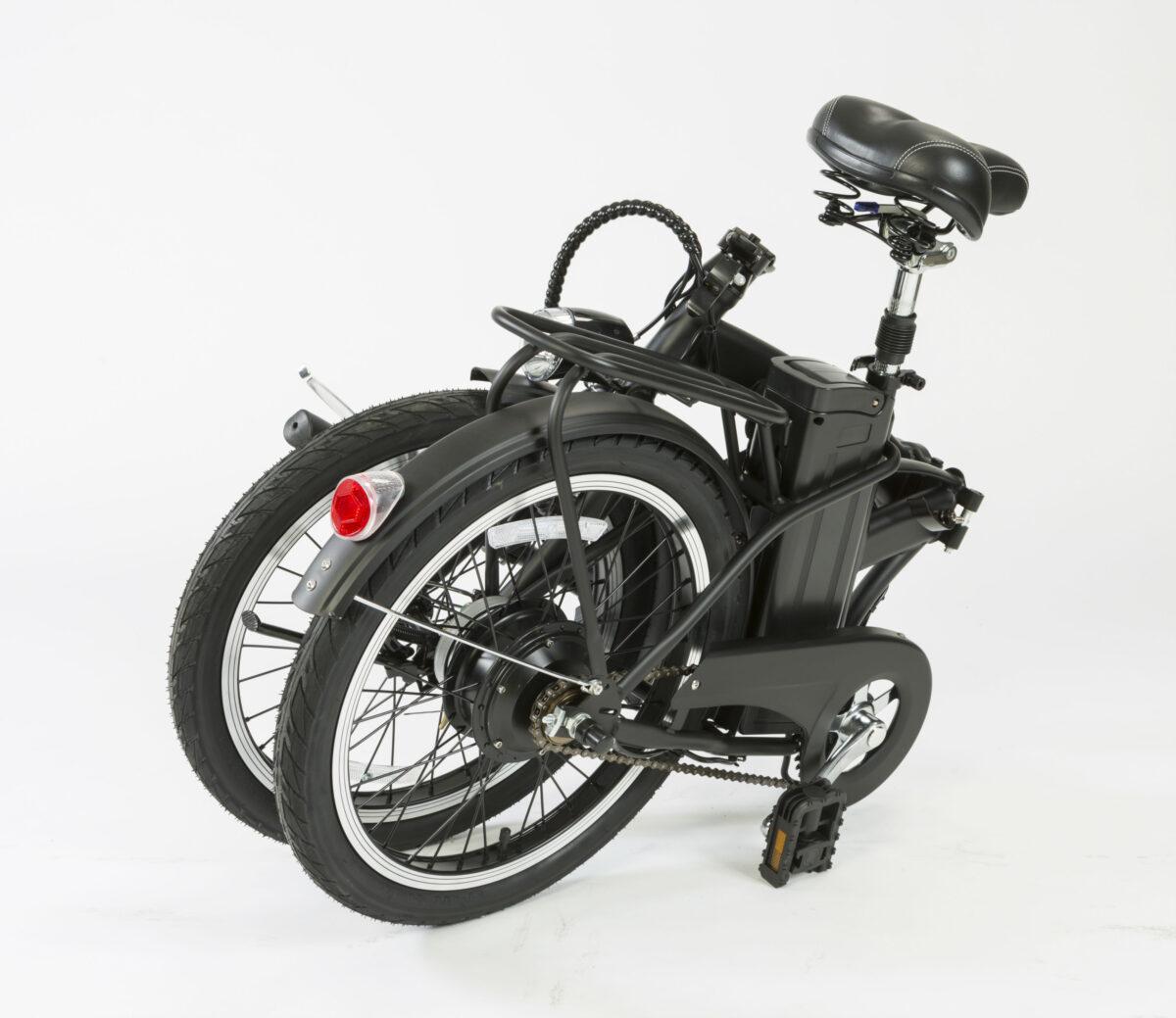 comprar bicicleta eléctrica negra plegable