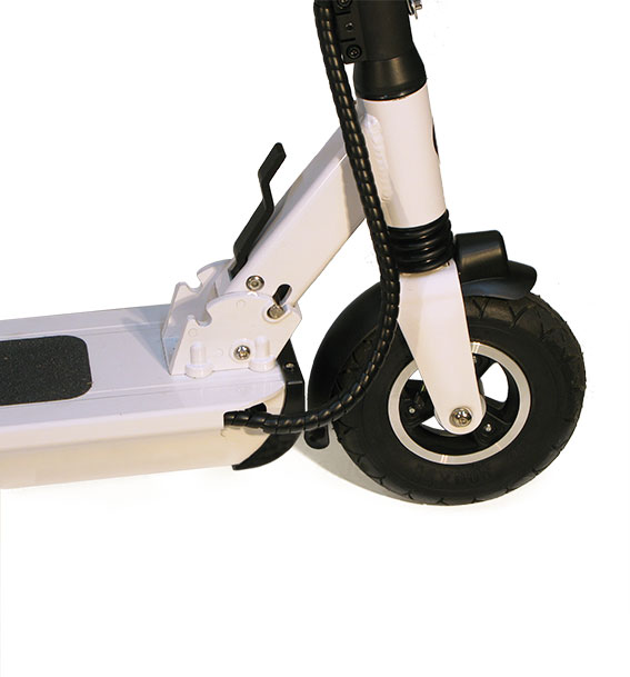 rueda de patinete eléctrico blanco doble suspension