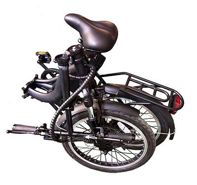 bicicleta eléctrica de paseo plegada negro mate