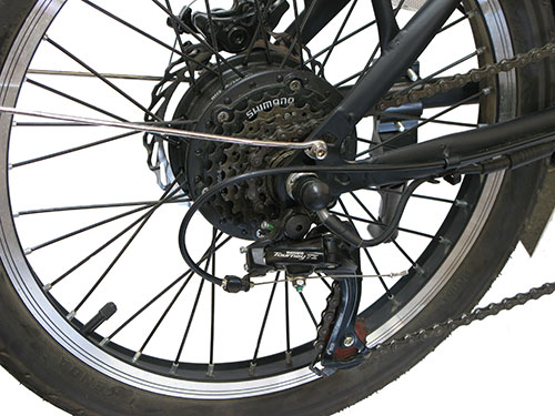 rueda trasera con cambio de marchas shimano bicicleta eléctrica de paseo